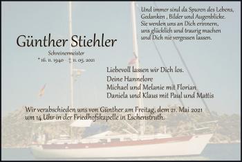 Traueranzeige von Günther Stiehler von HNA