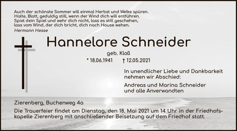 Traueranzeige für Hannelore Schneider vom 15.05.2021 aus HNA