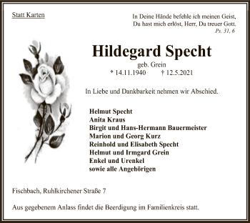 Traueranzeige von Hildegard Specht von HNA