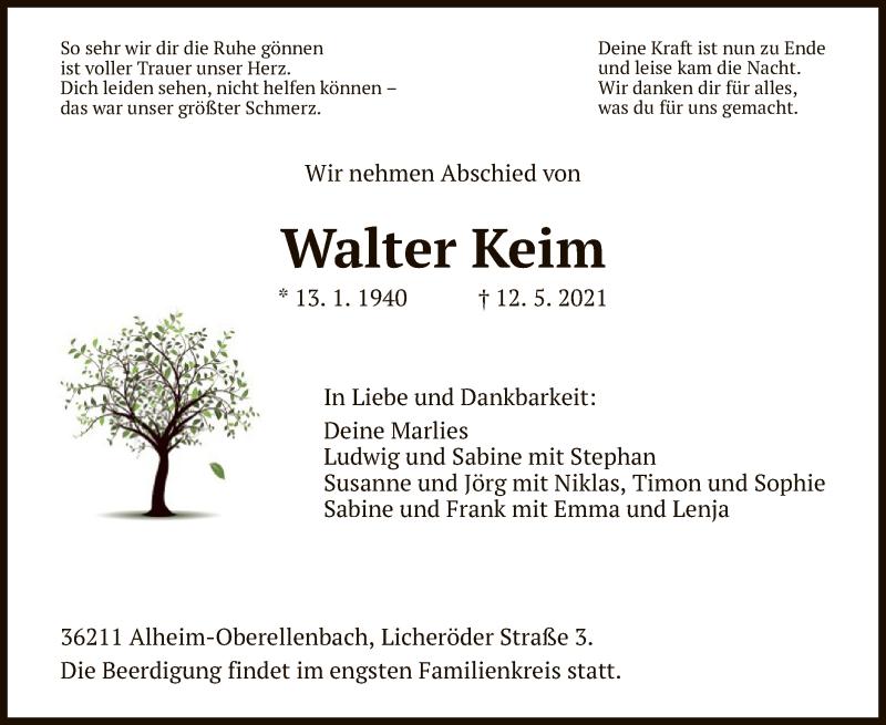 Traueranzeige für Walter Keim vom 17.05.2021 aus HNA