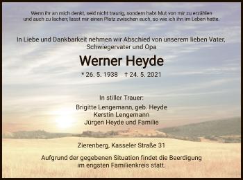 Traueranzeige von Werner Heyde von HNA