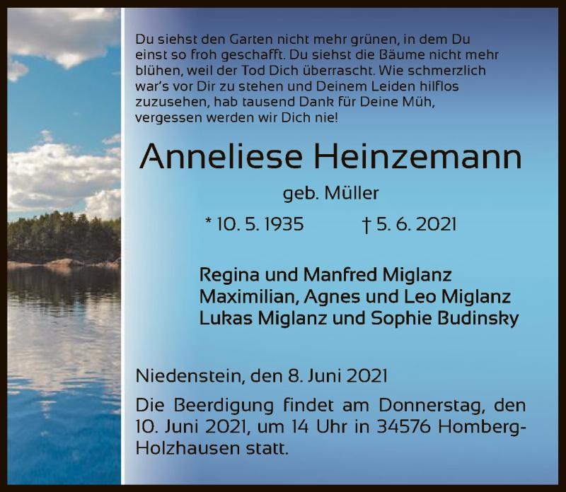 Traueranzeige für Anneliese Heinzemann vom 09.06.2021 aus HNA