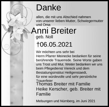 Traueranzeige von Anni Breiter von HNA