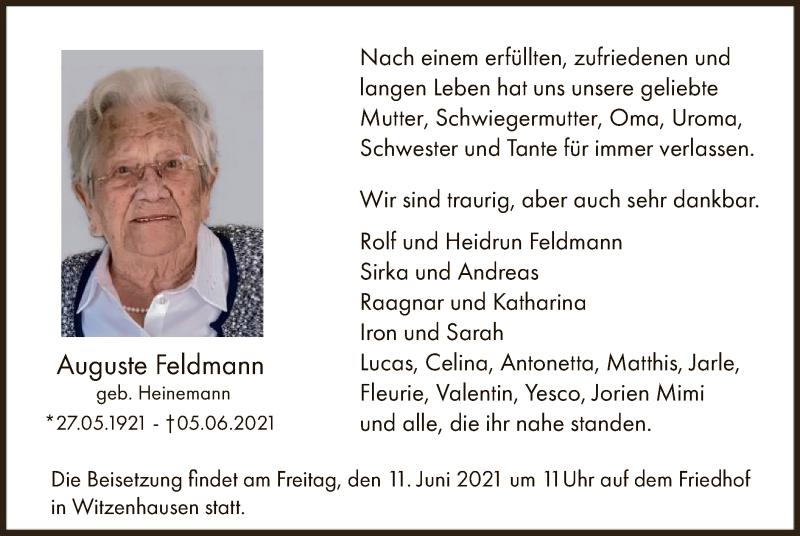 Traueranzeige für Auguste Feldmann vom 09.06.2021 aus HNA