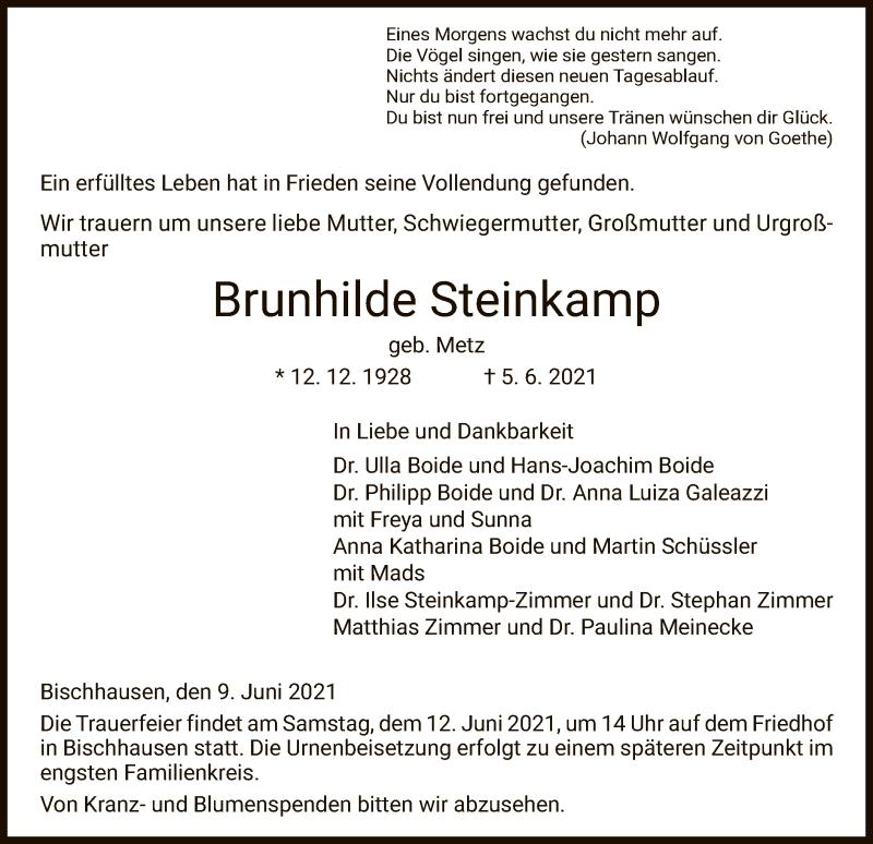 Traueranzeige für Brunhilde Steinkamp vom 09.06.2021 aus HNA