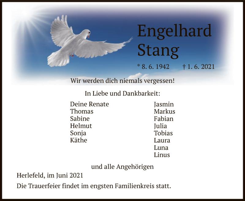 Traueranzeige für Engelhard Stang vom 05.06.2021 aus HNA