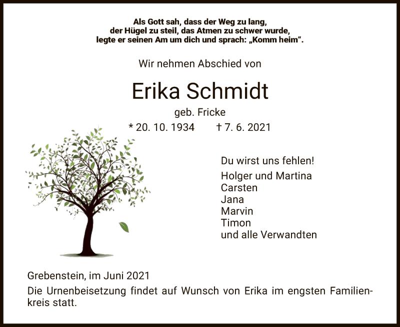 Traueranzeige für Erika Schmidt vom 10.06.2021 aus HNA