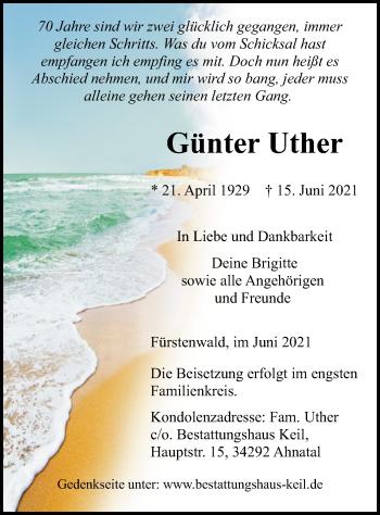 Traueranzeige von Günter Uther von HNA