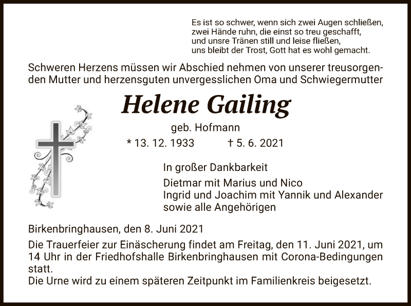 Traueranzeige für Helene Gailing vom 08.06.2021 aus HNA