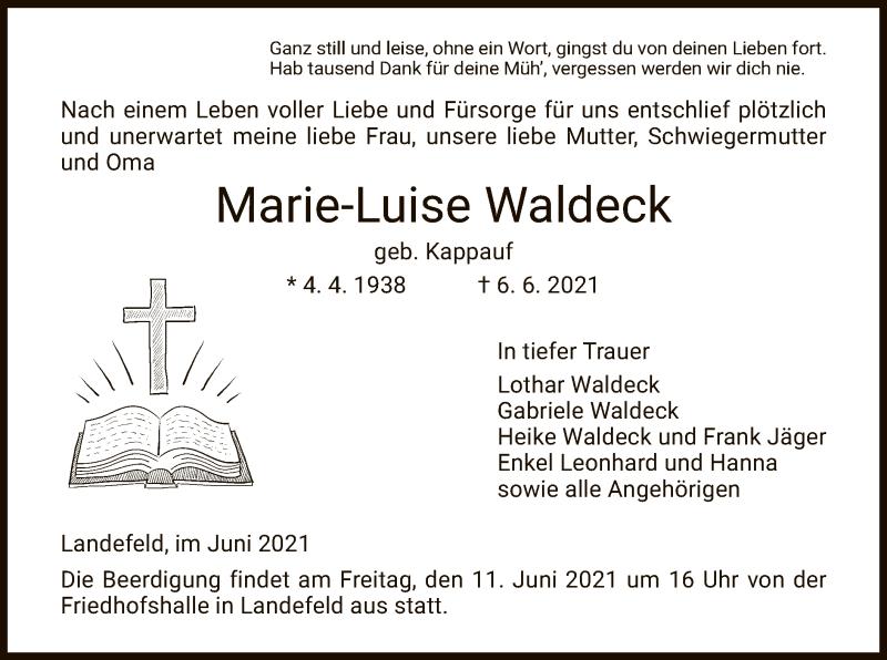 Traueranzeige für Marie-Luise Waldeck vom 09.06.2021 aus HNA