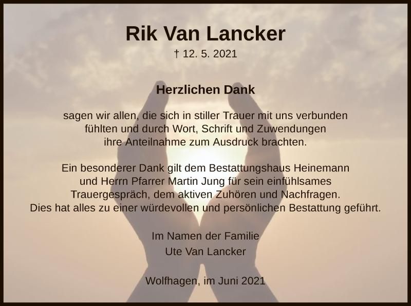 Traueranzeige für Rik Van Lancker vom 12.06.2021 aus HNA