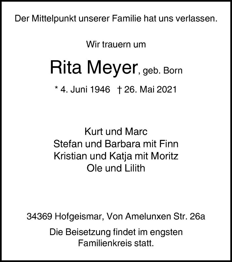 Traueranzeige für Rita Meyer vom 08.06.2021 aus HNA