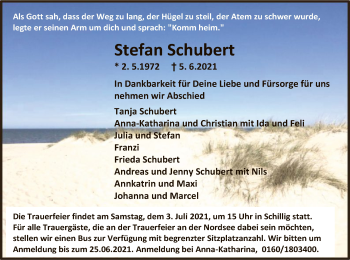 Traueranzeige von Stefan Schubert von HNA
