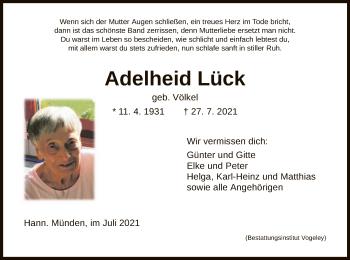 Traueranzeige von Adelheid Lück von HNA