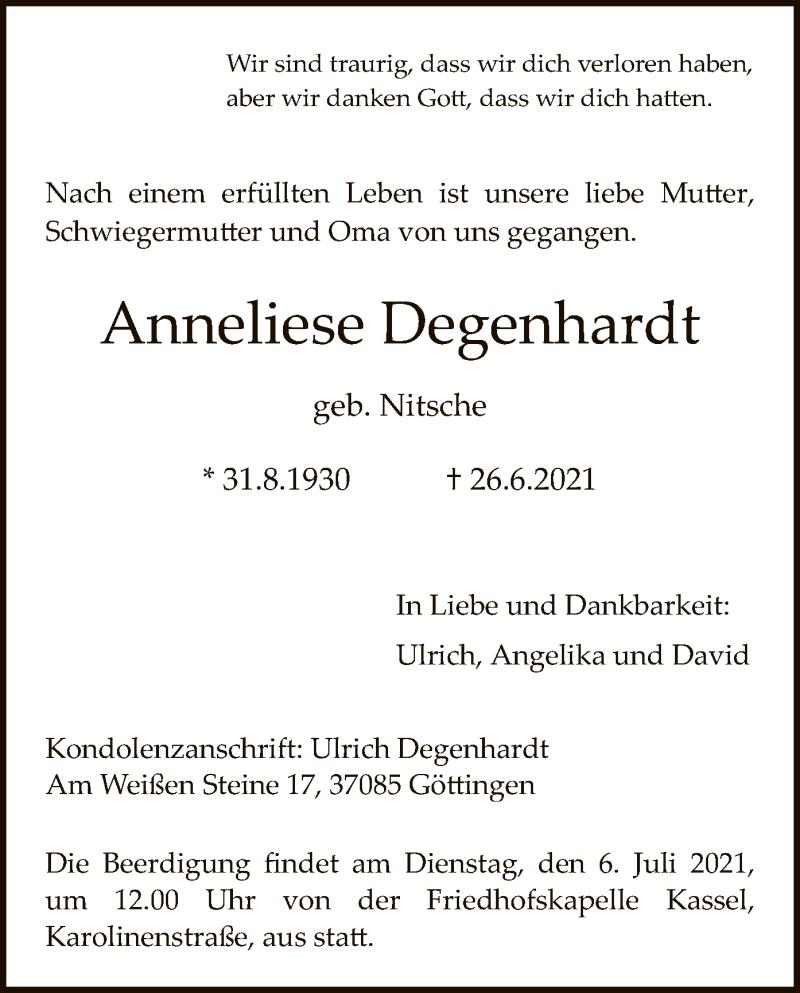 Traueranzeige für Anneliese Degenhardt vom 03.07.2021 aus HNA