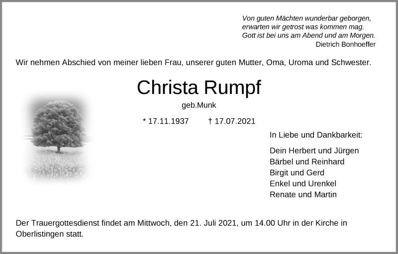 Traueranzeige für Christa Rumpf vom 20.07.2021 aus HNA