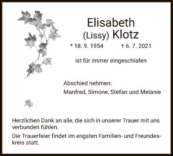 Traueranzeige von Elisabeth Klotz von HNA