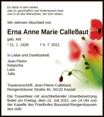 Traueranzeige von Erna Anne Marie Callebaut von HNA