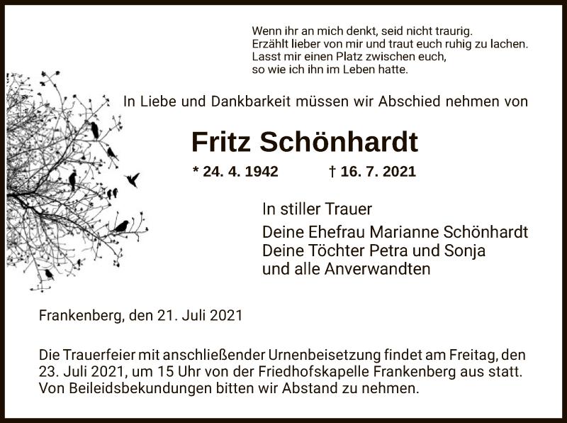 Traueranzeige für Fritz Schönhardt vom 21.07.2021 aus HNA