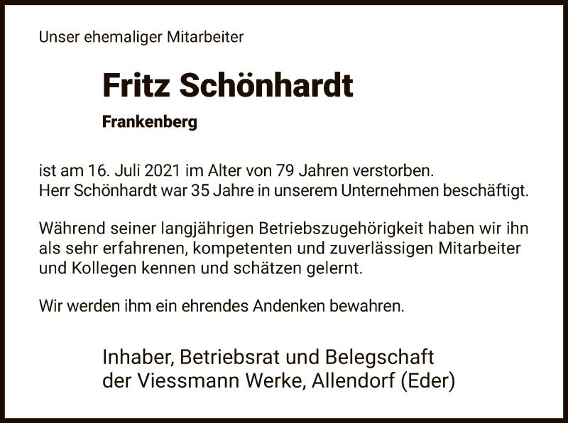Traueranzeige für Fritz Schönhardt vom 22.07.2021 aus HNA