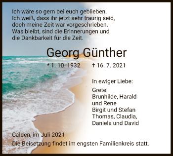Traueranzeige von Georg Günther von HNA