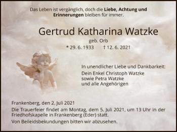 Traueranzeige von Gertrud Katharina Watzke von HNA