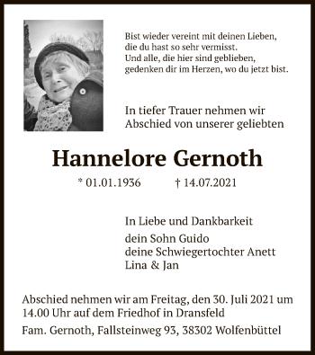 Traueranzeige von Hannelore Gernoth von HNA