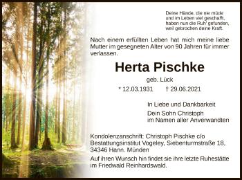 Traueranzeige von Herta Pischke von HNA