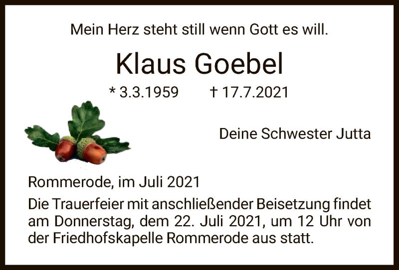 Traueranzeige für Klaus Goebel vom 21.07.2021 aus HNA