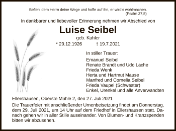 Traueranzeige von Luise Seibel von HNA