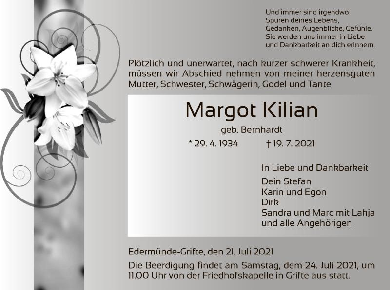 Traueranzeige für Margot Kilian vom 21.07.2021 aus HNA