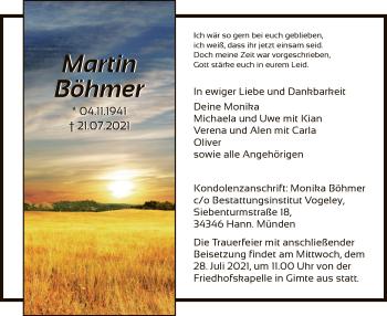 Traueranzeige von Martin Böhmer von HNA