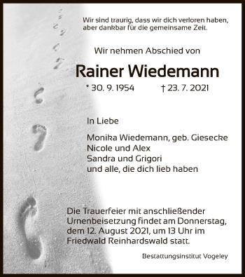 Traueranzeige von Rainer Wiedemann von HNA