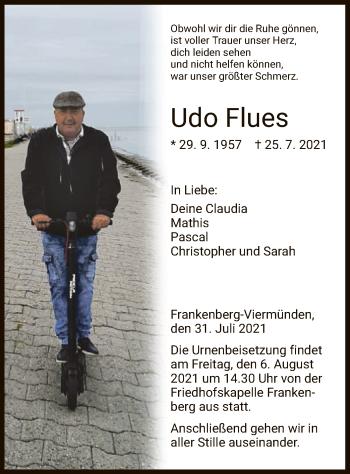 Traueranzeige von Udo Flues von HNA