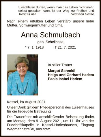 Traueranzeige von Anna Schmulbach von HNA
