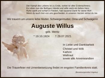 Traueranzeige von Auguste Willus von HNA