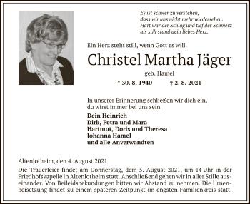 Traueranzeige von Christel Martha von HNA
