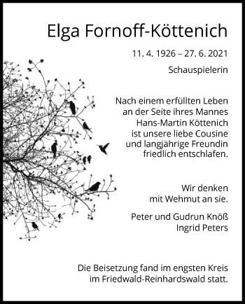 Traueranzeige von Elga Fornoff-Köttenich von HNA