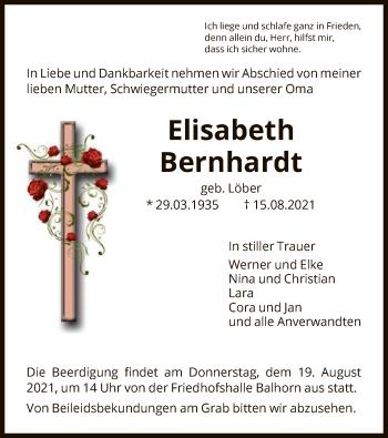 Traueranzeige von Elisabeth Bernhardt von HNA