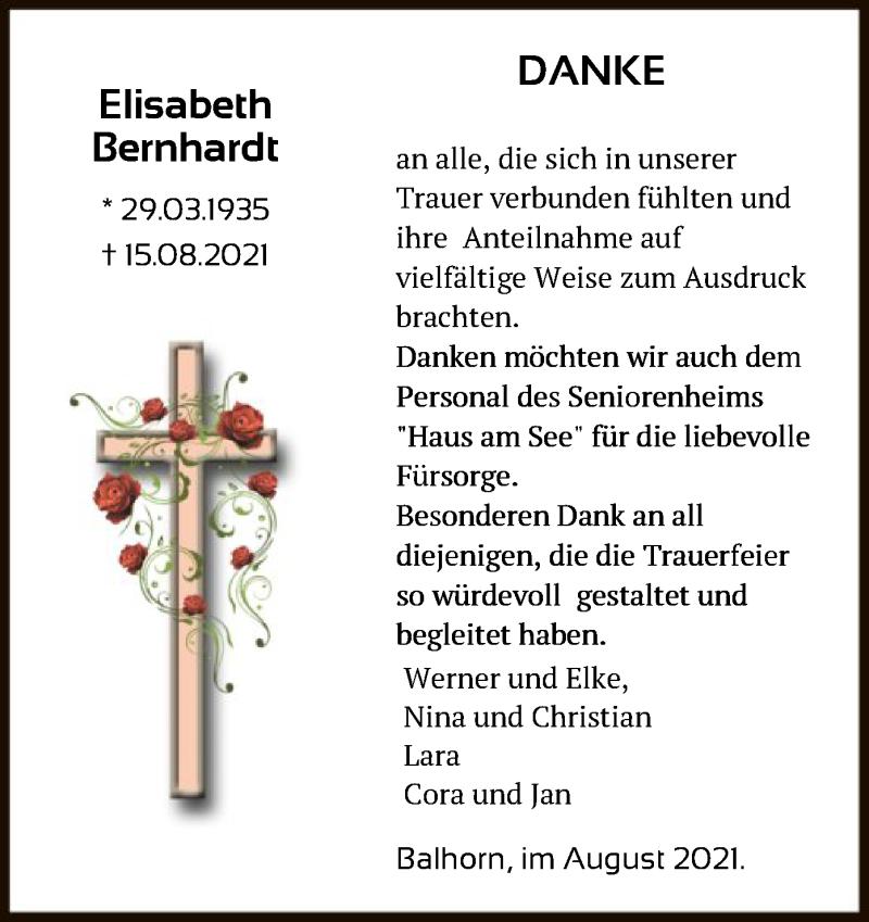 Traueranzeige für Elisabeth Bernhardt vom 28.08.2021 aus HNA