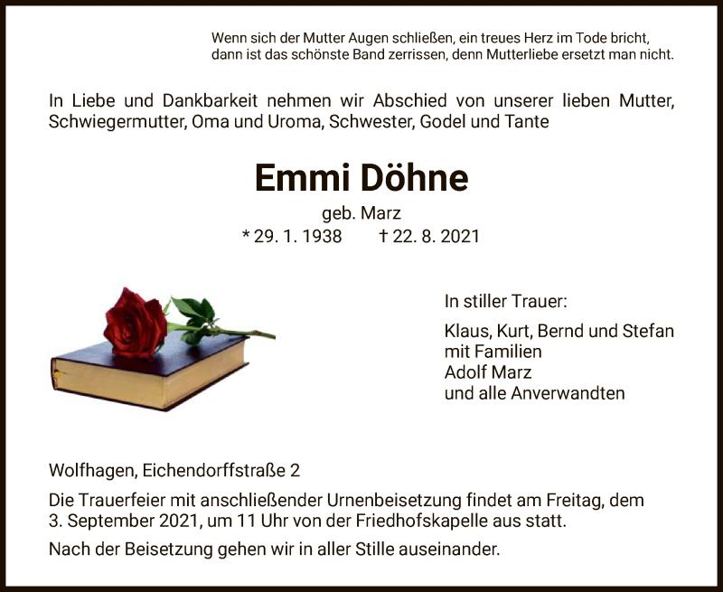 Traueranzeige für Emmi Döhne vom 31.08.2021 aus HNA