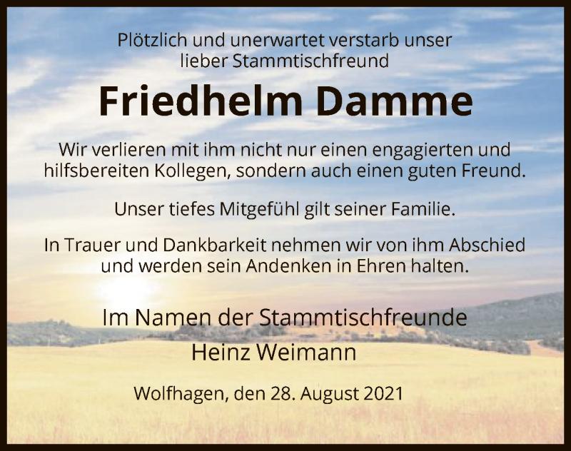 Traueranzeige für Friedhelm Damme vom 28.08.2021 aus HNA