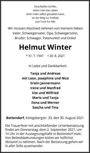 Traueranzeige von Helmut Winter von HNA