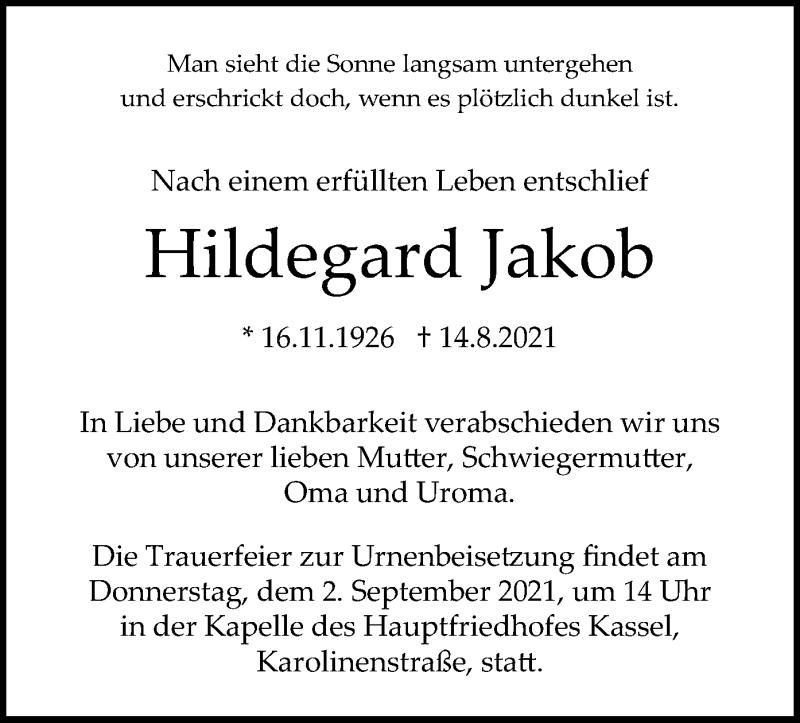 Traueranzeige für Hildegard Jakob vom 28.08.2021 aus HNA