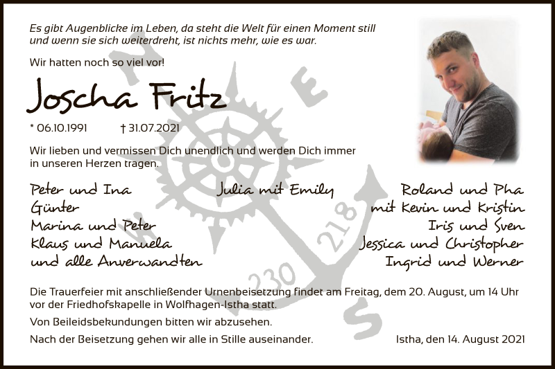 Traueranzeige für Joscha Fritz vom 14.08.2021 aus HNA