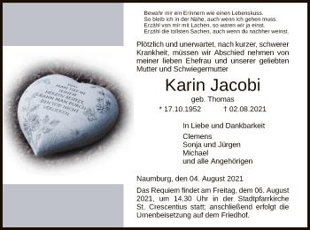 Traueranzeige von Karin Jacobi von HNA