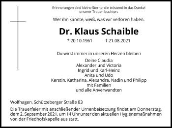 Traueranzeige von Klaus Schaible von HNA