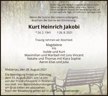Traueranzeige von Kurt Heinrich Jakobi von HNA