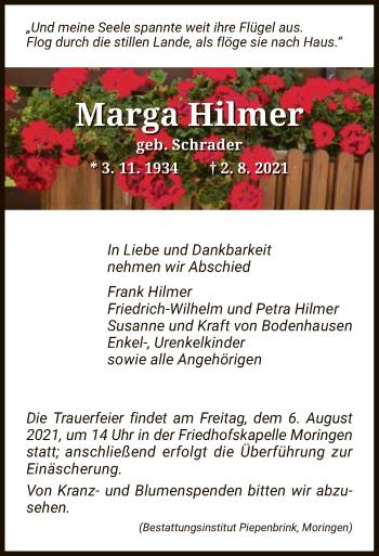 Traueranzeige von Marga Hilmer von HNA