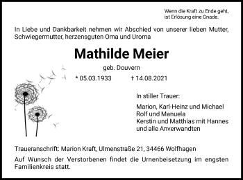Traueranzeige von Mathilde Meier von HNA